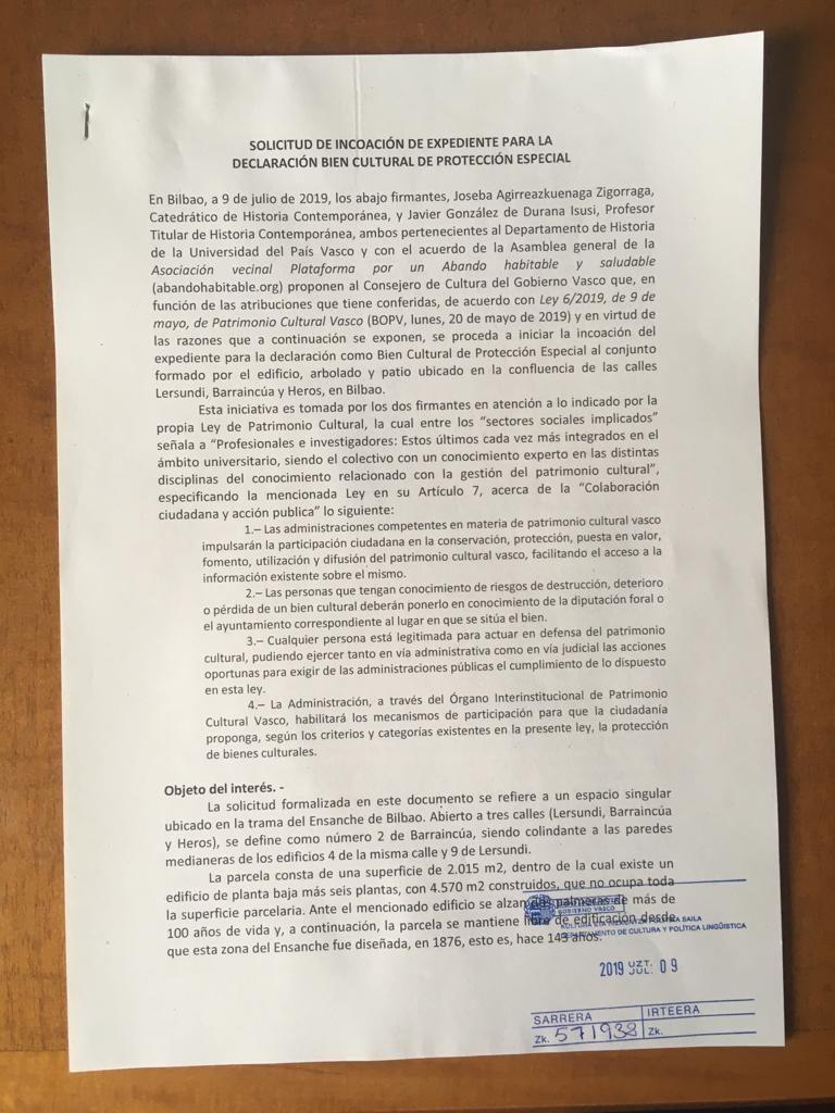 Documento de incoación de expediente para declarar como bien cultural