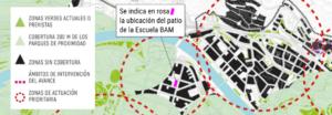 Cobertura de parques de proximidad según PGOU en Bilbao
